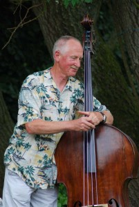 Happy bass player